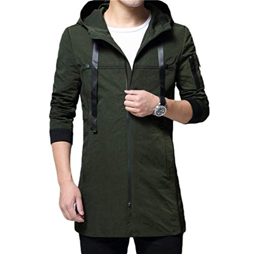 Outwear Fit Hooded Jacket Youth Coat Coat Overcoat Slim Hooded Long Trench Casual Grün Men's Apparel Autumn and Tops x6wqppH