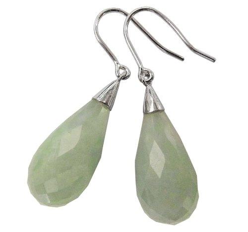 Light Green Jade Facet-Cut Teardrop Earrings, 925 Sterling Silver