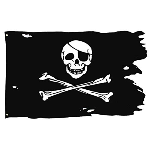 (3x4.8 Foot Creepy Ragged Old Skull Bones Pirate Flag - Double Side Color - UV Fade Resistant - Bright Pattern - Jolly Roger Crossbone Flags)