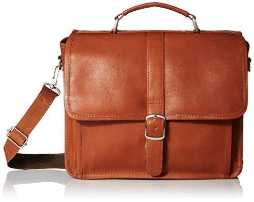 Piel Leather Small Flap-Over Laptop/Tablet Brief, Saddle