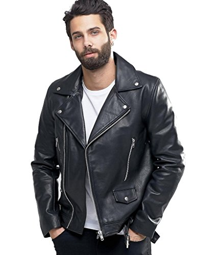 New York Leather Men's New Range Bomber Biker Jacket XXL Black