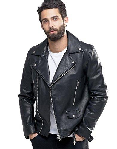 Mens Black Leather Biker Jacket - 7