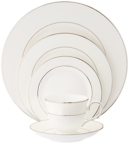 Lenox Unisex Opal Innocence Stripe 5 Piece Set White Dinnerware