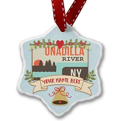Personalized Christmas Decorations Add Your Own Custom Name USA Rivers Unadilla River New York Ornament for Girls Holiday Tree Decorative - 3 inch