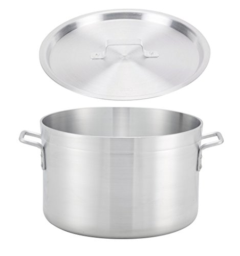 Winco ASHP-60, 60-Quart 20'' x 11'' Extra-Heavy Precision 1/4'' Thick Aluminum Sauce Pot with Cover, Commercial Grade Stock Pot with Lid, NSF by Winco