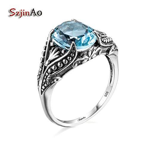Fashion 925 Sterling Silver Graduates Rings   Roman Restoring Ancient Fine Aquamarine Finger Rings
