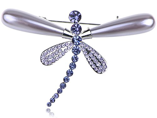 Alilang Inspired Shine Purple Swarovski Crystals Faux Pearl Dragonfly Brooch Pin