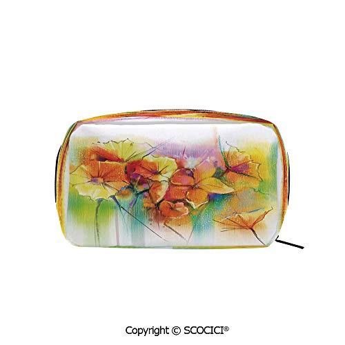 Rectangle Printed Beauty Cosmetic Bag Pouch Autumn Bouquet withTypes of Blooms Daffodil Fragrant Image Women fashion Toiletry Travel Bag