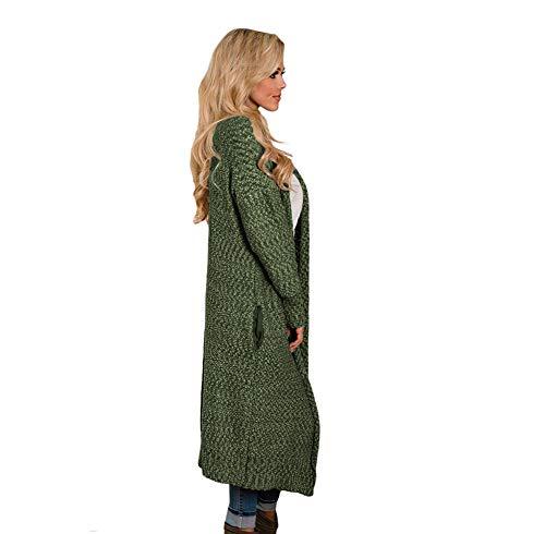 Lunga Lunga Cardigan con Manica Cable Caldo V con Sweater A Scollo Anteriore Open Allentato Extra Tasche Inverno Cappotto Lungo Aperta Knit Green Autunno Knit rFwOr80
