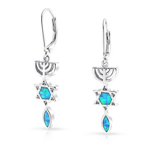 Blue Synthetic Star (Star of David Synthetic Blue Opal Rhodium Plated Silver Leverback Earrings)