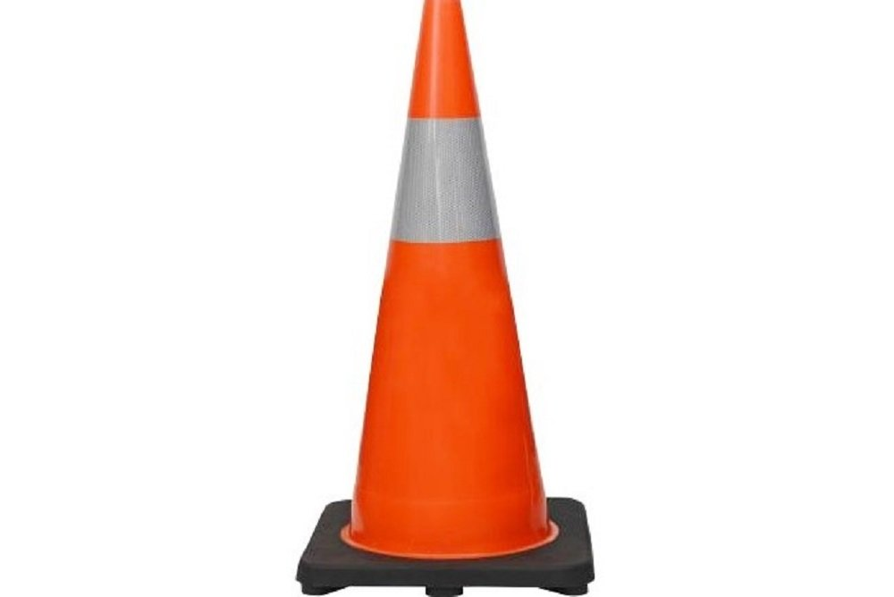 ( 8 Cones) CJ Safety 28'' Orange PVC Traffic Safety Cones with Black Base & 6'' Reflective Collar (Set of 8)