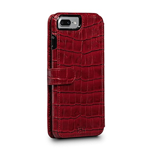 WalletBook Classic Leather Folio Case (Croco Red, for iPhone 8 Plus / 7 Plus)
