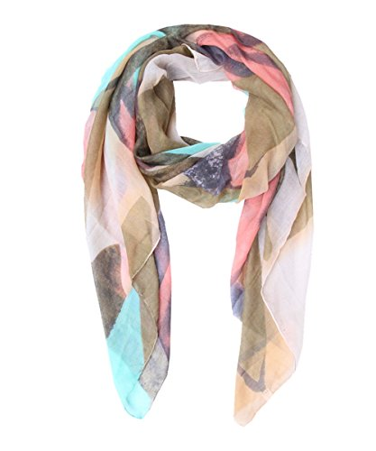 Lucky Leaf Women Long Lightweight Cozy Chiffon Scarf Shawl Wrap Mountains Printing (Wasabi Green Peak) (Wash Wasabi Hand)