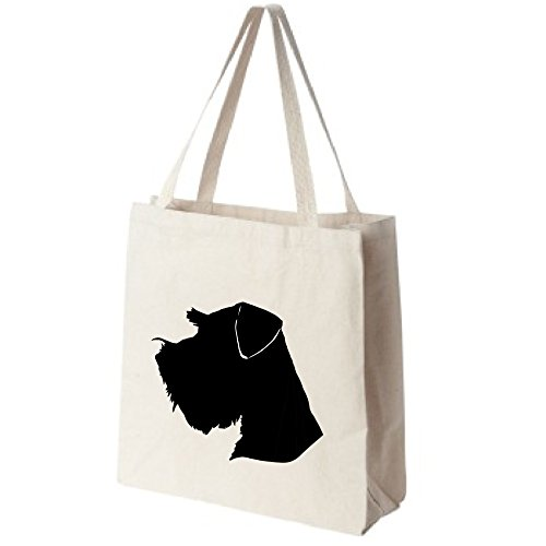 Miniature Schnauzer Dog Portrait Silhouette Design Extra Large Reusable Cotton Canvas Grocery Shopping Tote Bag (Pets Tote Silhouette Bag)