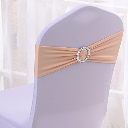 Chair Slipcover Champagne (50PCS Stretch Wedding Chair Bands With Buckle Slider Sashes Bow Decorations 25 Colors (Champagne))