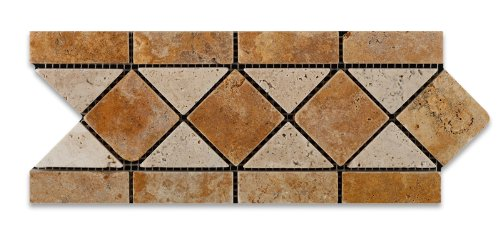 Gold / Yellow & Ivory Travertine Tumbled Trojan Border / Listello - Box of 5 (Listello Border)