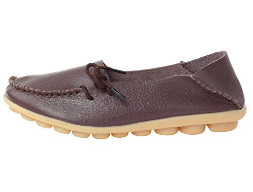 Leather Mordenmiss 1 Loafer Shoes coffee Casual Women's Solid Moccasins Color Style qOBHw