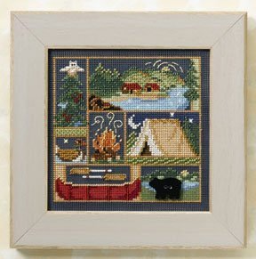 Camping Out Beaded Counted Cross Stitch Kit Mill Hill Button