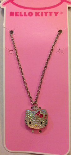 Hello Kitty Sparkle Necklace Hello Kitty Face Pendant With Pink Rhinestones