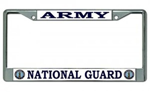 Army National Guard Chrome License Plate Frame Free Screw Caps with this -