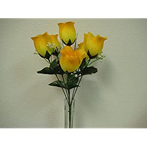 """3 Bushes Yellow Rose Bud 6 Artificial Silk Flowers 13"""" Bouquet 599YL 70"""