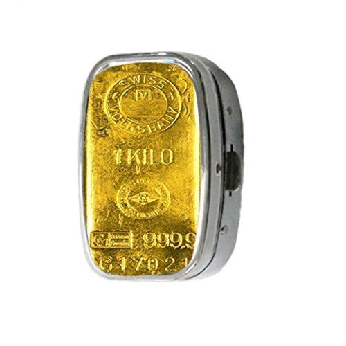 (1 Kilo Bar of 24 Custom Unique Silver Square Pill Box Medicine Tablet Organizer or Coin Purse)