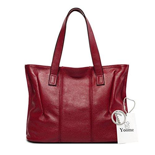 Yoome bolsos de piel de vaca para las mujeres bolsos de cuero real de la manija superior Vintage bolsos elegantes para las mujeres - Beige borgoña
