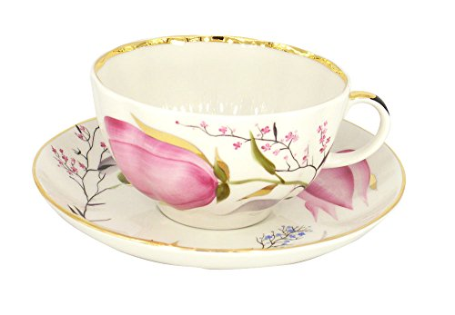 Lomonosov Porcelain Tea Set Cup and Saucer Tulip Pink Tulips 8.45 oz/250 ml