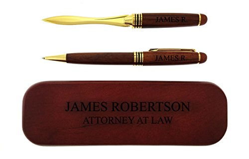 Gifts Infinity Rosewood Engraved/Personalized Pens and Letter Opener Set Free Engraving (2 P/L Pen Set, - Opener Set Letter