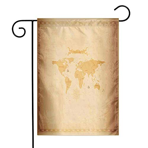 World Map Garden Flag Rustic Antique Vintage Explorer Routes Compass Figure Grungy Display Premium Material W12 x L18 Pale Coffee Sand Brown ()