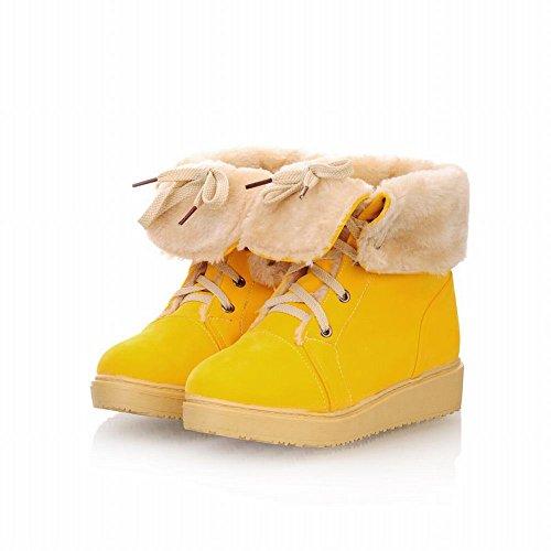 Carol Chaussures Mignon Femmes Lacets Mode Double Usage Belle Plate-forme Confort Chaud Bottes De Neige Jaune