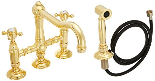 Rohl A1458XMWSIB-2 Country Kitchen Three Leg Bridge Faucet with Metal Cross Handle, Inca ()