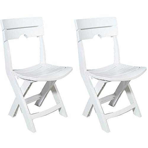 Adams Manufacturing 8575-48-3700 Quik-Fold Chair White, Set of 2 Free Tablecloth