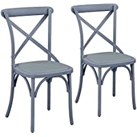 Supernova X-Cross Back Chair Vintage-Style Upholstered, Swedish Grey Set of Two(2)