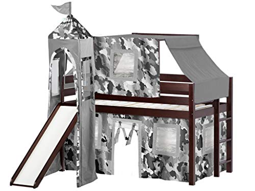 JACKPOT! Castle Low Loft Bed with Slide Gray Camo Tent and Tower, Loft Bed, Twin, Cherry