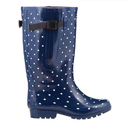 Jileon Extra Wide Calf Rubber Navy Blue Rain Boots for Women-Widest Fit Boots in The US-up to 21 inch Calves-Wide in The Foot and Ankle-Durable Boots for All Weathers- 7 (XW) (The Best Soccer Boots Ever)