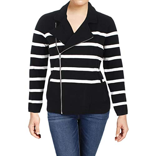 (Lauren Ralph Lauren Womens Plus Levani Knit Striped Moto Coat B/W 3X)