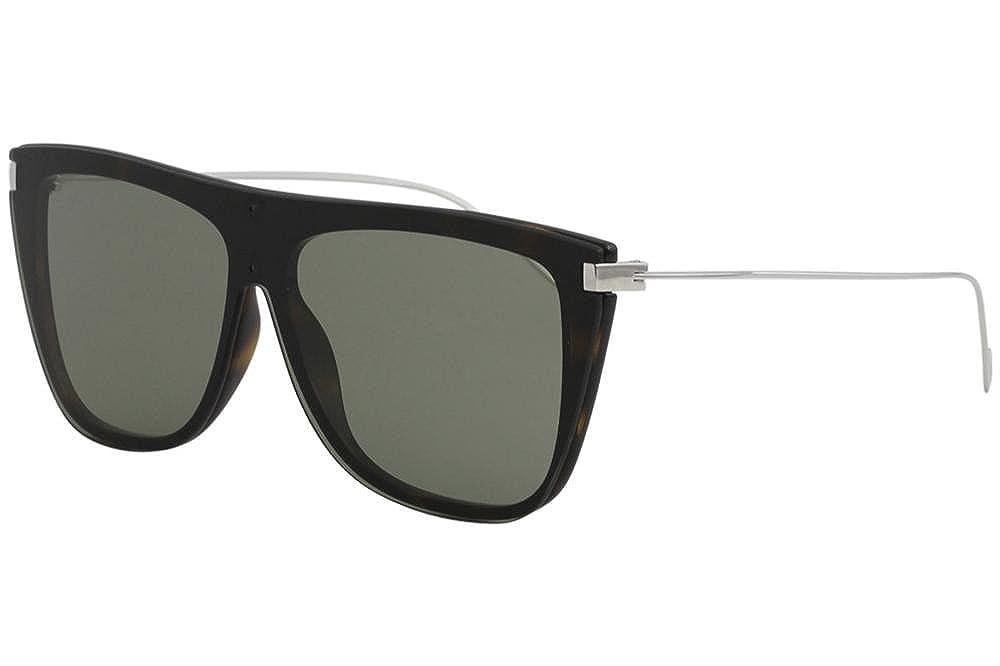 114d59a52b1 Saint Laurent New Wave SL 1 T 006 Havana Silver Fashion Shield Titanium  Sunglasses 99mm  Amazon.co.uk  Clothing