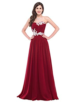 GRACE KARIN Strapless Long Evening Dress with Appliques CL6107 (Multi-Colored)