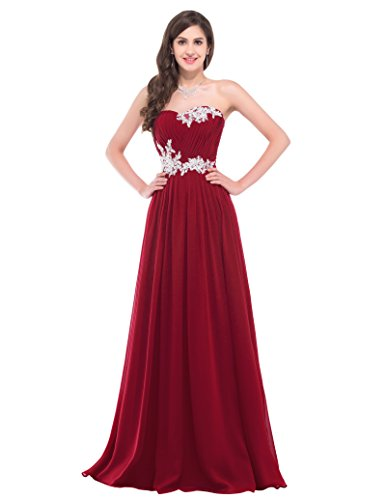 Long Cocktail Dresses for Women Chiffon Size 14 CL6107-4,Dark (Red Satin Strapless Dress)