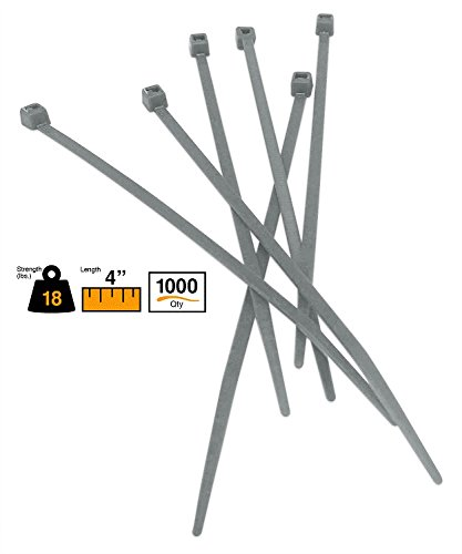 BuyCableTies 4'' Miniature Style Indoor Cable Ties - 18 lb Rated - Made in USA - Gray - 1000 per bag by Buycableties