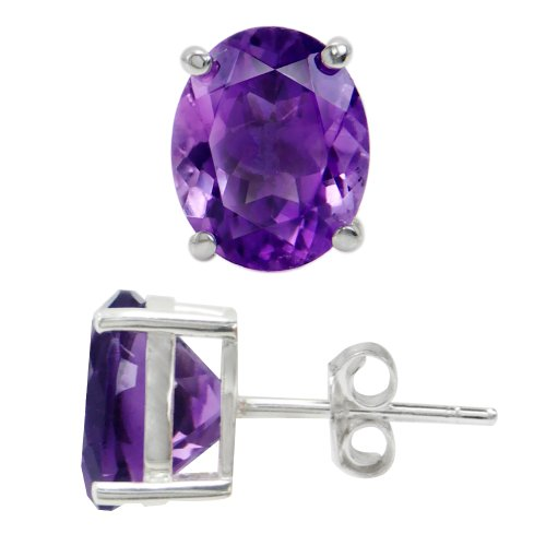 (4.72ct. Natural African Amethyst 925 Sterling Silver Stud)