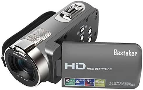 Camera Camcorders, Besteker HD 1080P 24MP 16X Digital Zoom Video Camcorder with 2.7