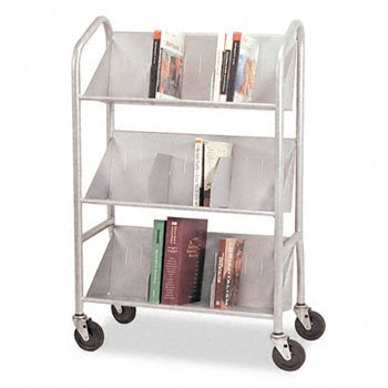 BDY54143 - Buddy Products Sloped Three-Shelf Book Cart by Buddy Products