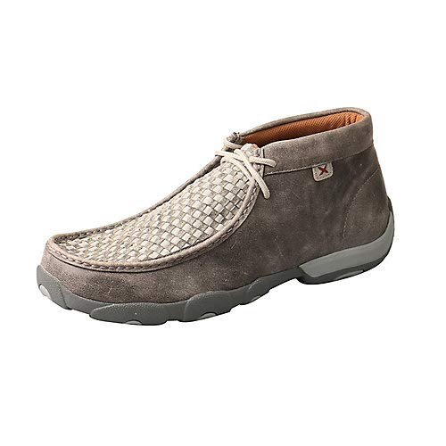 Twisted X Men's Woven Driving Moccasin Shoes Moc Toe Grey 10.5 D (Mens Driving Moc Slip)