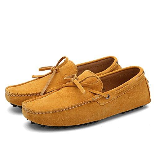 Flats Zapatos Men Hombres Hombres Leather Zapatos casuales Mocasines Suede conducción Yellow Vaca Bridfa de gv4xwqUIv