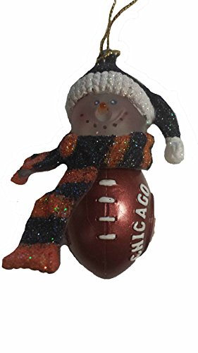 Chicago Bears NFL Striped Acrylic Snowman Ornament 3
