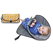 SnoofyBee Portable Clean Hands Changing Pad. 3-in-1 Diaper Clutch, Changing Station, and Diaper-Time Playmat With Redirection Barrier for Use With Infants, Babies and Toddlers (Citrus)