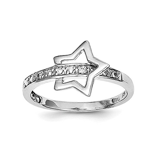 925 Sterling Silver Rhodium Plated Diamond Star Ring Size - Diamond Star Rhodium