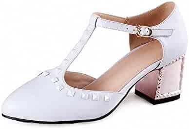 99caef2fe8a9 AmoonyFashion Women s Soft Material Buckle Pointed Closed Toe Kitten Heels  Solid Pumps Shoes